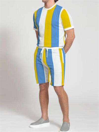 Mens Loose Casual Contarst Color Short Sleeve T-Shirts+Shorts