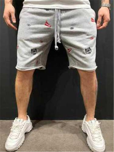 Mens Casual Loose Breathable Knit Sports Knee Shorts