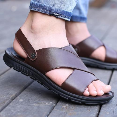 Mens Casual Outdoor Non Slip Leather Sandals