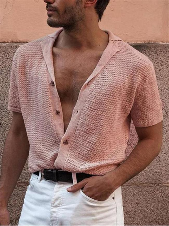 Mens Lightweight Knitted Solid Color Short Sleeve Cardigan Casual T-Shirts