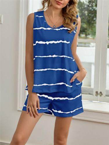 Relaxed Fit Striped 2-Piece Set Scoop Neck Sleeveless Top + Elasticated Waistband Pocket Shorts