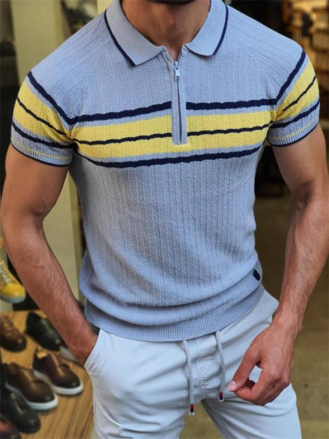 Mens Casual Contrast Color Knitted Slim Fit Shirts