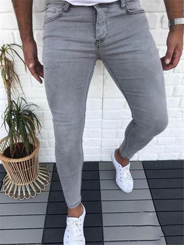 Mens Fashion Casual Slim Fit Plain Denim Pants