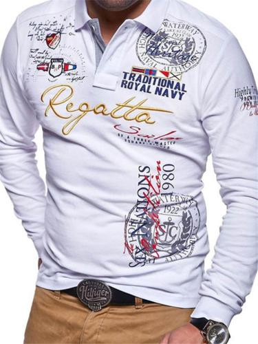 Mens Fashion Print Personality Casual Long Sleeve Shirts