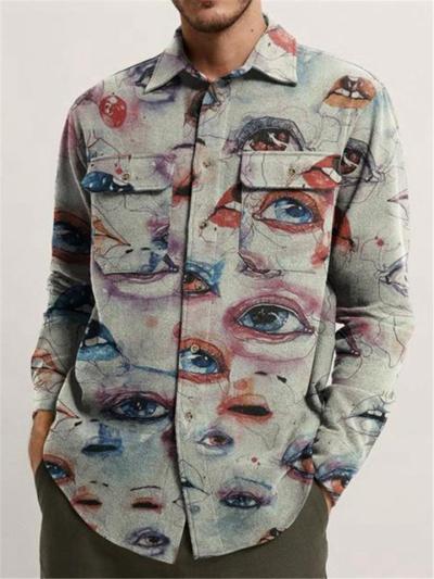 Mens Casual Print Slim Fit Warm Jackets Outwears