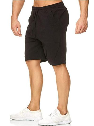 Mens Gym Training Linen Casual Sports Knee Shorts