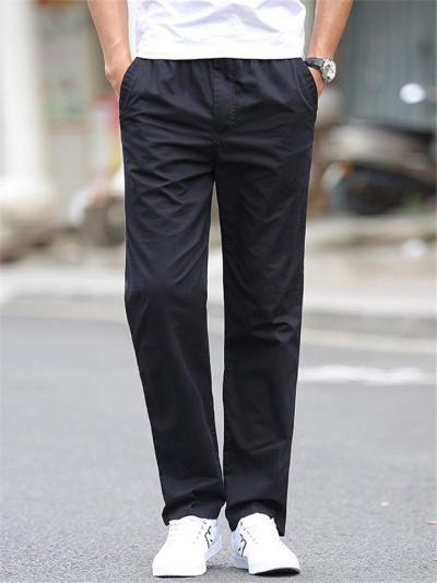 Mens Comfy Casual Straight Loose Solid Color Pants
