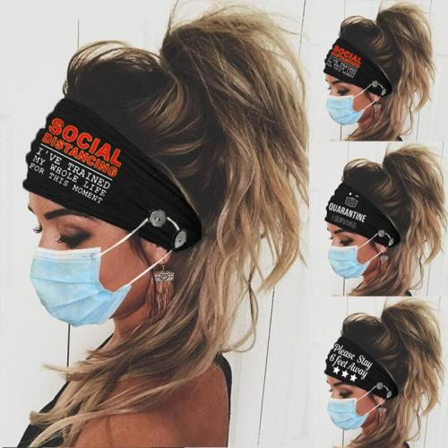 Makeup Face Wash Workout Graphic print Soft Headband with Face Mask Buttons