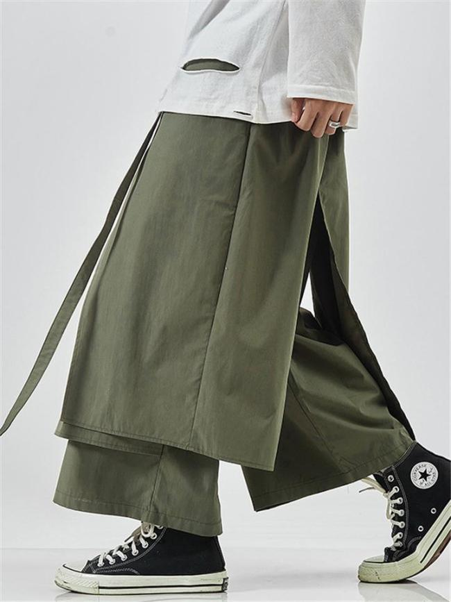 Mens Loose Fashion Fake Two Pieces Casual Pants