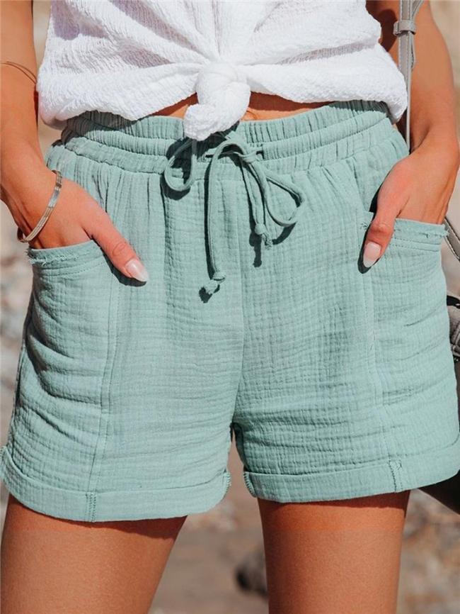 Casual Style Elasticated Drawstring Waistband Cotton-Linen Thigh-Length Pocket Shorts