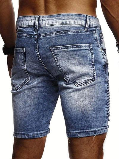 Mens Casual Fashion Distressed Knee Denim Shorts