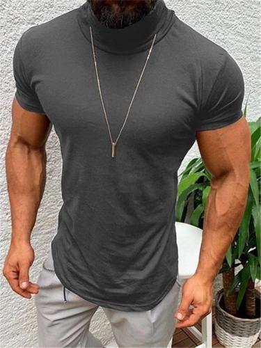 Mens Casual Comfy Solid Color High Neck T-Shirts