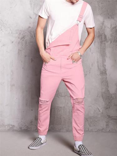 Mens Vintage Wearable Pink Casual Denim Jumpsuits