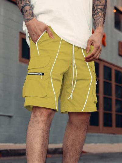 Mens Gym Personality Straight Cargo Knee Shorts