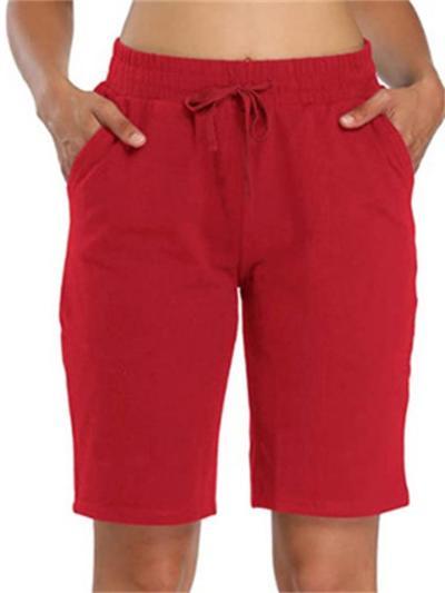 Solid Color Elasticated Drawstring Pocket Straight Shorts