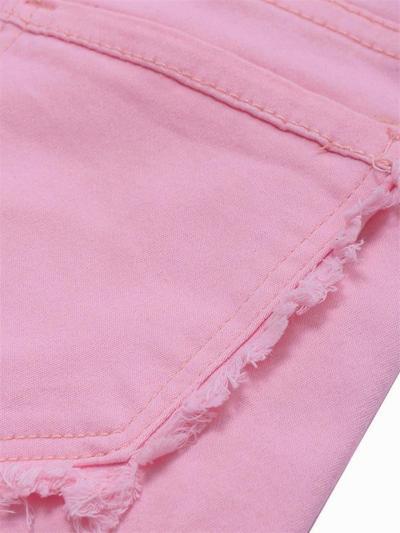 Fashion Solid Color Slim-Fit Pocket Raw Edge Denim Shorts