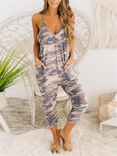 Casual Sleeveless Tie-Dye Print Halter Backless Jumpsuit