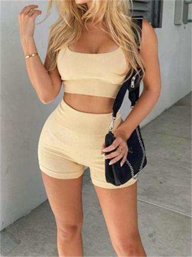 Sexy Knitted Sports Short Sleeve Yoga Fitness Top + Slim Shorts
