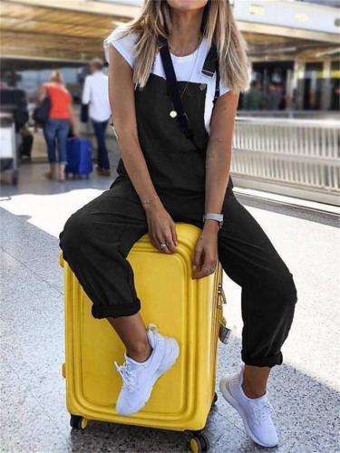 Fashion Printed Mid-Rise Cotton And Linen Jumpsuit