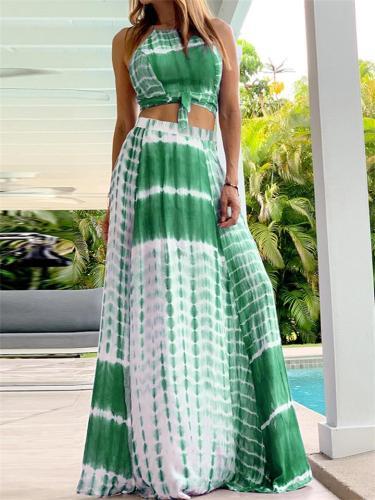 Sexy Style Backless Sleeveless Print Halter Dress