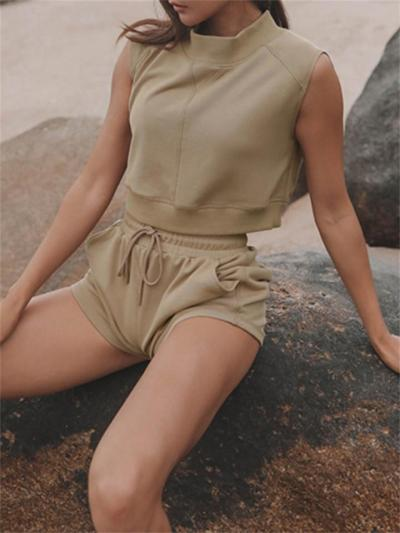 Sport Style Solid Color Round Neck Loose Top + Straight Leg Shorts