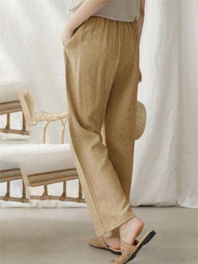 Women's Casual Solid Color Straight Leg Elastic Waist Wide Leg Pants