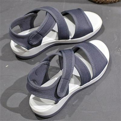 Daily Wear Casual Solid Color Velcro Fastening Open-Toe Sandals