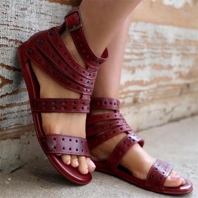 Roman Style Peep-Toe Belt Buckle Solid Color Wear-Resistant Sandals