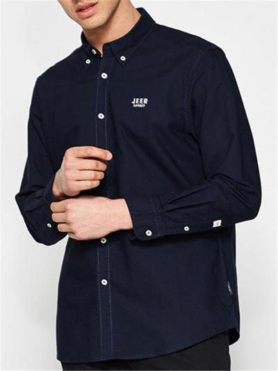 Mens Loose Business Solid Color Casual Long Sleeve Shirts