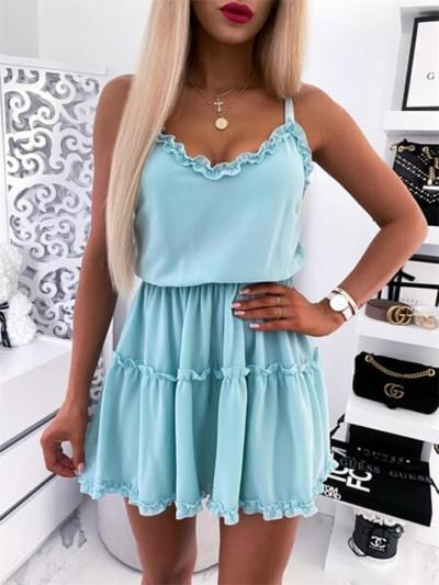 Sexy Solid Color Sleeveless V-Neck Backless Mid-Waist Pleated Halter Dress