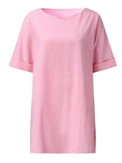 Women's Retro Short-Sleeved Round Neck Solid Color A-Line Dress