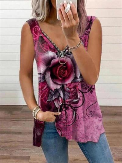 Women's V-Neck Sleeveless Zipper Rose Flower Print Casual T-Shirt