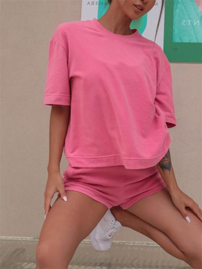 Street Style Loose Round Neck Short Sleeve Solid Color Top + Elastic Waist Shorts