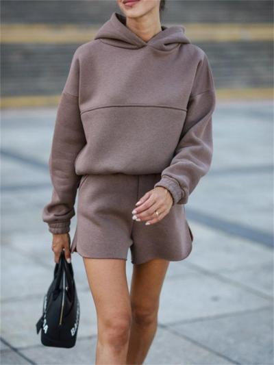 Comfortable 2-Piece Set Solid Color Hooded Sweatshirt + Elastic Shorts