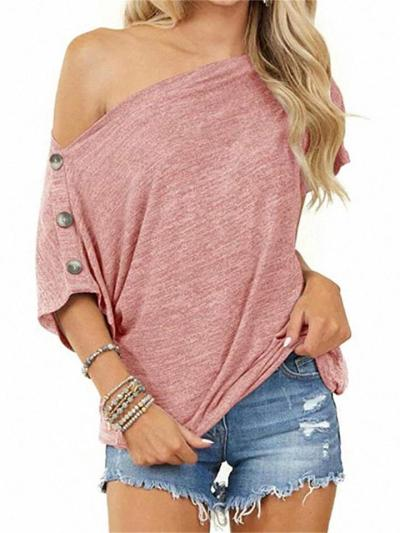 Women's Loose Solid Color Strapless Button Short-Sleeved T-Shirt