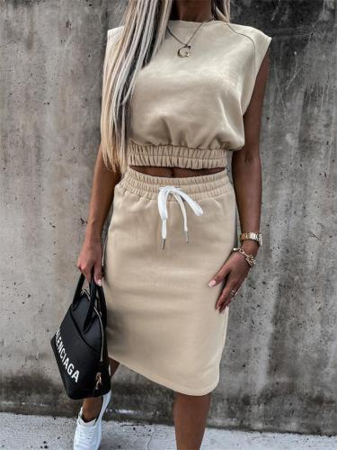 Two-Piece Set Fashion Sexy Solid Color Sleeveless Loose Top + Slim Skirt