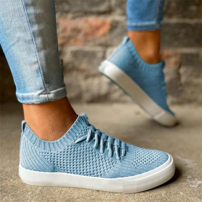 Lightweight Round Toe Low-Heel Knitted Lace-Up Breathable Loafers