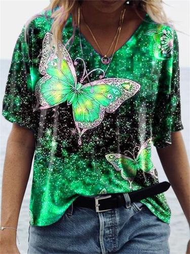 Women's Loose Short-Sleeved V Neck Butterfly Print T-Shirt