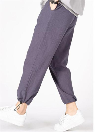 Mens Loose Breathable Cotton&Linen Sports Casual Pants