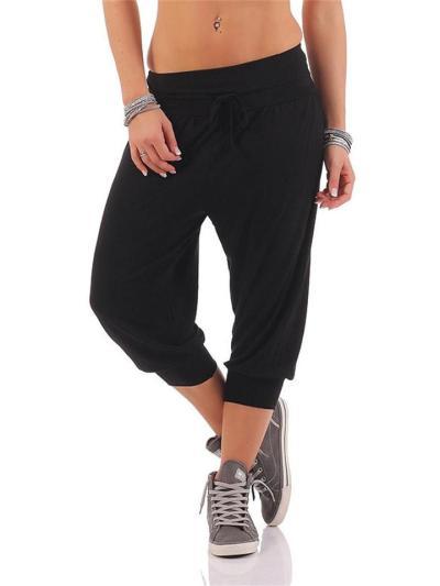 Slim-Fit Leisure Sports Yoga Solid Color Mid-Waist Pants