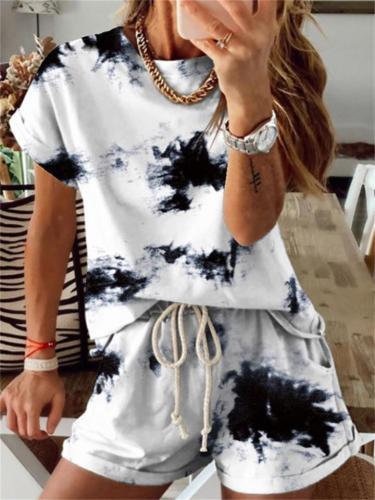 Two-Piece Set Tie-Dye Gradient Short-Sleeved Top +  Elastic Waist Shorts