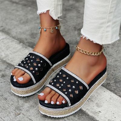 Women's Comfortable Rhinestone Denim Solid Color Slippers