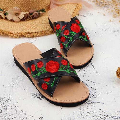 Casual Rose Print Flat Heel Open Toe Sandals