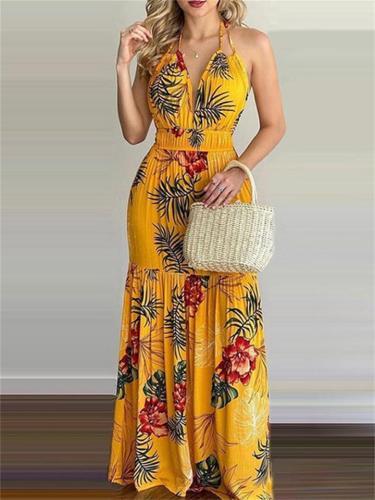 Print Backless High Waist Sleeveless Dress