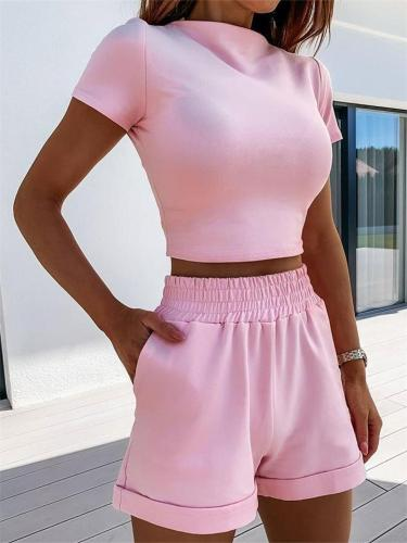 Sexy Fashion Casual Solid Color Slim Top + Elastic Shorts