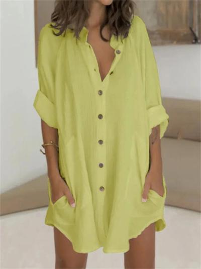 Women's Loose Cotton And Linen Button Short-Sleeved Shirt