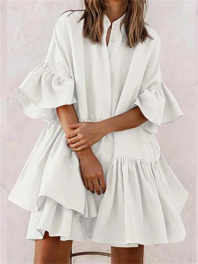 Sweet Style Solid Color Ruffled Button Ruffle Sleeve Dress