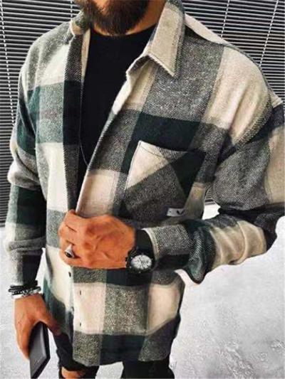 Mens Fashion Plaid Pattern Open Front Long Sleeve Coats
