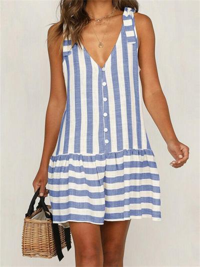 Vintage Sleeveless V-Neck Striped Button Dress