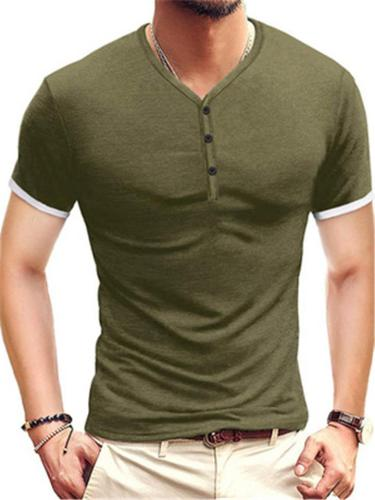 Mens Comfy Casual Short Sleeve Henley T-Shirts